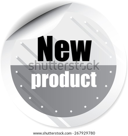 New Product Gray Stickers And Labels. - stock photo