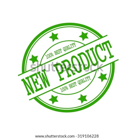 New Product green stamp text on green circle on a white background and star
