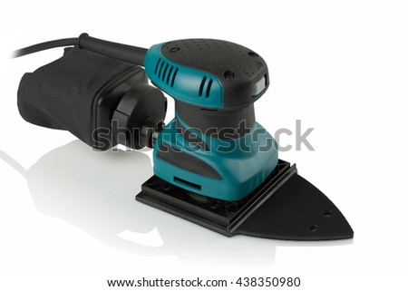 new professional finishing sander on white background - stock photo