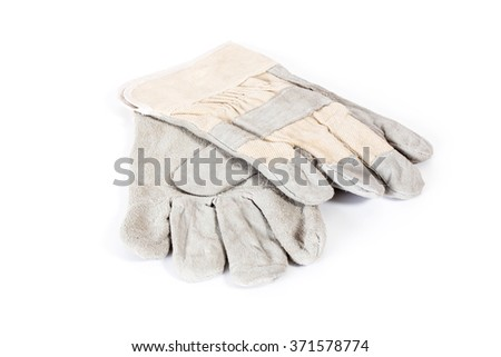 new protective gloves - on white background - stock photo