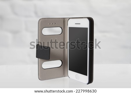 New realistic mobile phone smartphone iphon style mockup with blank screen - stock photo