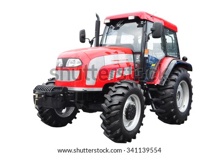 New red agricultural tractor isolated on white background With clipping path - stock photo