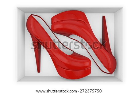New red high heel shoes in box isolated with clipping path on white - stock photo
