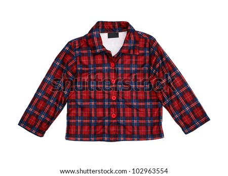 New red plaid cotton shirt with blank label isolated on white background - stock photo
