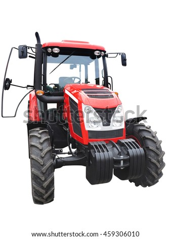 New red powerful tractor isolated over white background - stock photo
