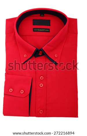 New red shirt isolated on white background - stock photo