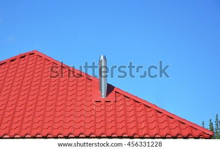 New Red Tiled Roof With Metal Chimney House Roofing Construction Exterior
