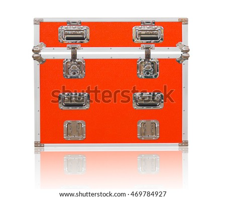 New red toolbox with shadow on white background