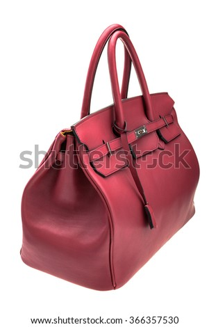 New red womens bag isolated on white background. - stock photo