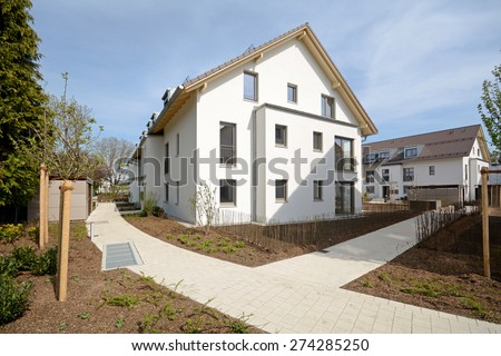 New residential building with outside facilities - Construction work near completion - stock photo