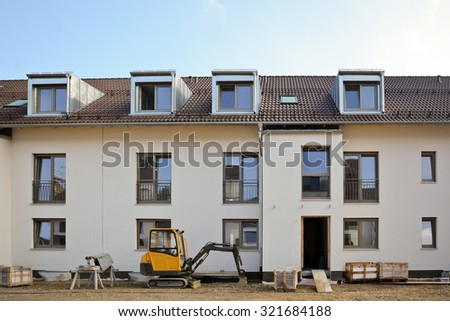 New residential buildings with outside facilities - Construction work near completion - stock photo