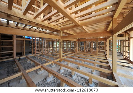 New residential construction home framing Japanese style-1-2 - stock photo