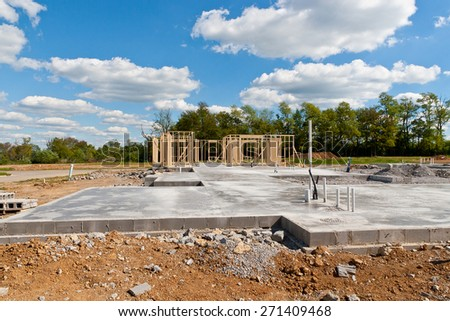 New residential construction home  with pre-installed water pipes and sewage - stock photo