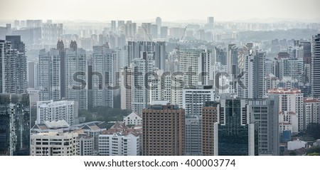 New residential districts of Singapore. Aerial view of Singapore residential buildings at daytime - stock photo