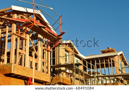 New Residential Homes Under Construction - stock photo