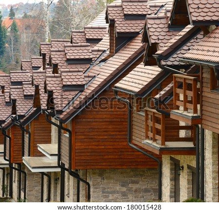New residential houses, Zlatibor, Serbia / Roof tops close-up / Tiles - stock photo