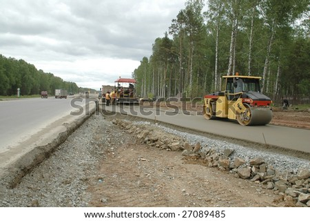 new road construction - stock photo