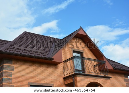 New roofing construction with attic balcony rain gutter system roof windows and roof protection & Stock Images Royalty-Free Images u0026 Vectors | Shutterstock memphite.com