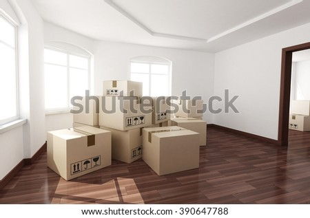 New room empty and box (done in 3d) - stock photo