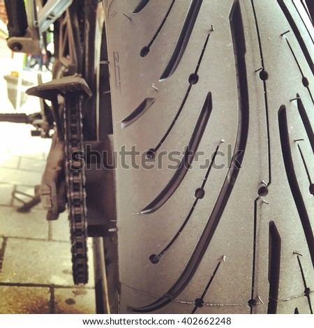 New rubber, or tires on a motorcycle