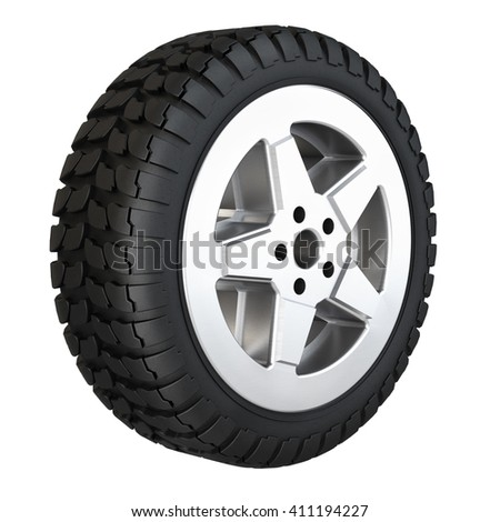 New rubber tire for car isolated on white background. 3D rendering