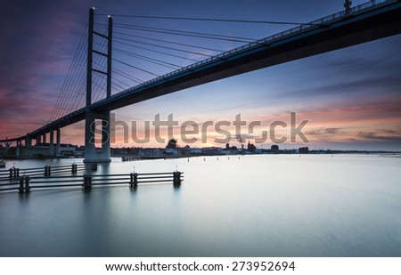 New Rugen Bridge over the Strelasund, connecting Stralsund and Rugia Island - stock photo