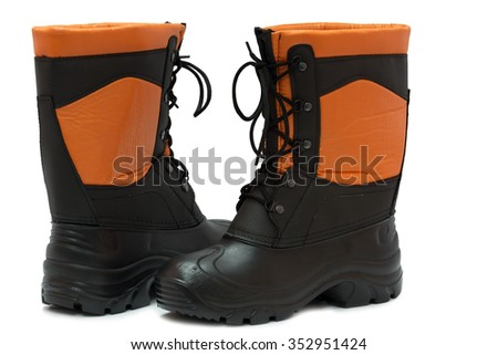 new safety shoes on a white background in the Studio - stock photo
