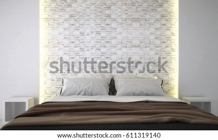 new scene and new model new design interior 3d rendering of bedroom and head bed