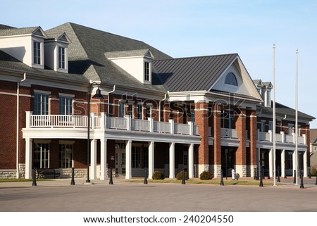 New school building with traditional architecture - stock photo