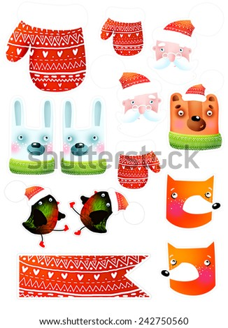New set of animals for decoration - stock photo
