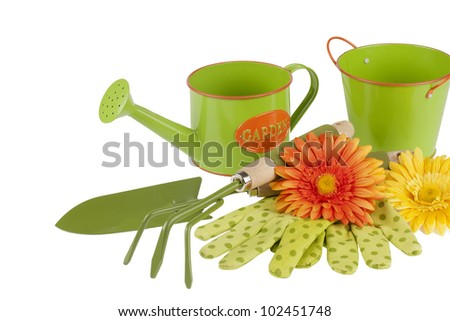 new shiny gardening tools kit including trowel, cultivator, watering can with painted sign on it, bucket,  gloves and flowers for decoration isolated on white background - stock photo