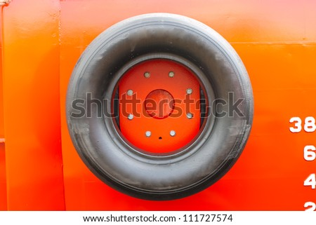 New ship details. Tire to protect shipboard - stock photo