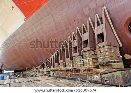 new ship ready for launching in shipyard