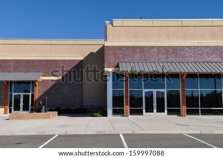 New Shopping Center made of Brick Facade - stock photo