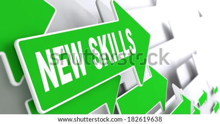New Skills Concept. Green Arrows on a Grey Background Indicate the Direction. - stock photo