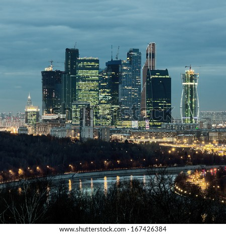 New skyscrapers business center in Moscow at night, Russia - stock photo