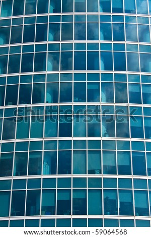 New skyscrapers business centre, climbers clean windows