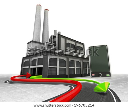 new smart phone and import export arrow industrial concept illustration - stock photo