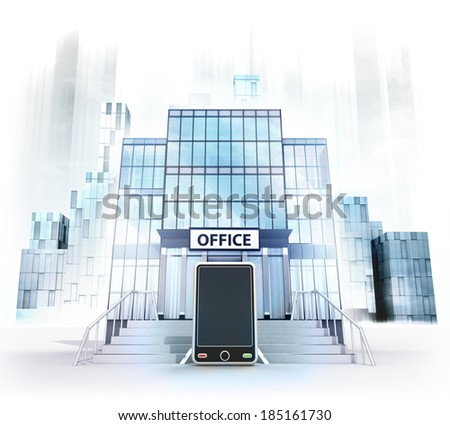 new smart phone in front of office building as business city concept render illustration - stock photo
