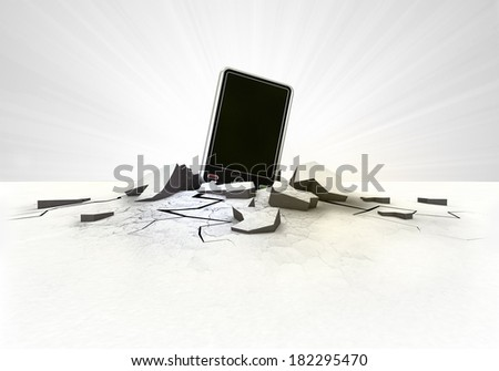 new smart phone stuck into ground with flare concept illustration - stock photo