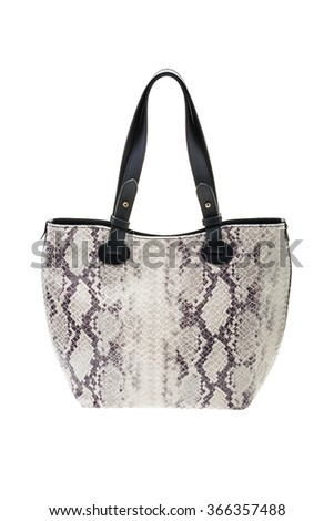 New snake textured womens bag isolated on white background. - stock photo