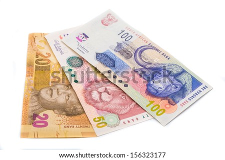 New South African 20 50 and100 Rand notes isolated on white background