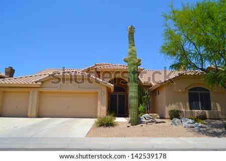 New Southwestern Spanish Style Arizona Dream Home - stock photo