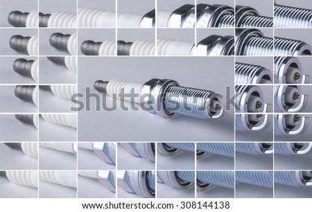 new spark plug isolated on white background - stock photo