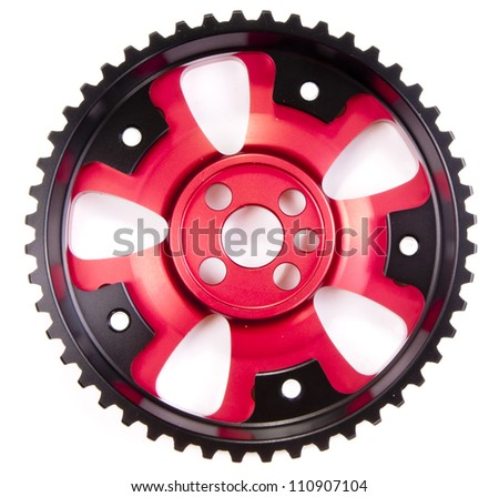 New sports pulleys for a camshaft - stock photo