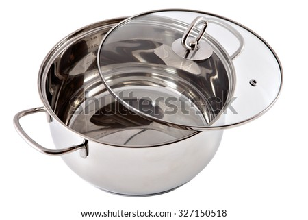 New stainless steel pan with a transparent glass cover, isolated on white background. - stock photo