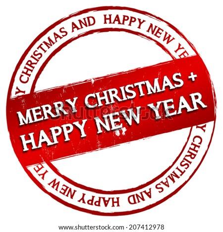 New Stamp - Merry Christmas + happy new year - stock photo