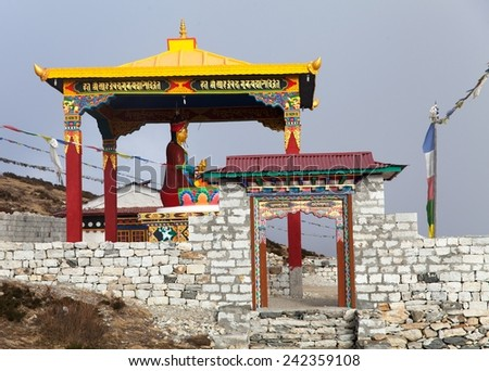 New statue of buddha in Pangboche monastery, Khumbu valley near Tengboche, way to Everest base camp, Nepal - stock photo
