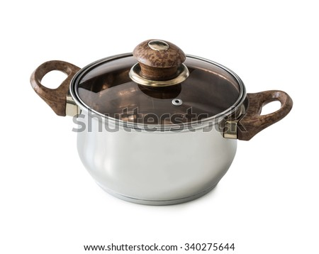 new steel pot with glass lid isolated on white background - stock photo
