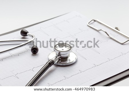 new stethoscope on a white background with cardiogram isolated